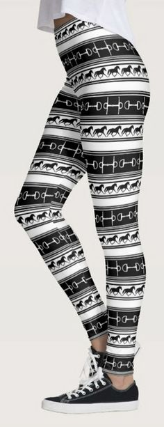 Equestrian Leggings - horse lover themed legging pants with black and white trotting horses, ponies, and snaffle horse bits. Perfect for any horse lover who enjoys hunter jumper, dressage, or other english horseback riding sports. Equestrian style and fashion clothing.