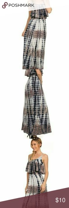 Organic Cotton Tie Dye Maxi Layered Maxi Dress Made in USA  Highest quality cotton Original Fifth Degree Small length 57 inches fifth degree Dresses Maxi