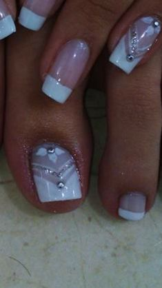 Toe Nail Art, Toe Nails, Acrylic Nails, Nail Tip Designs, French Nail Designs, Purple And Pink Nails, Glam Nails, French Nails, Simple Nails