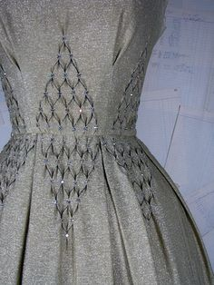 ~ Absolutely stunning smocking detail!  Love to learn!  {Vintage 1950s Shimmery Gold Metallic Cocktail Dress with Swarovski Crystals}