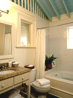 Bathroom remodel on pinterest small bathrooms tubs and tile for Small bathroom high ceiling