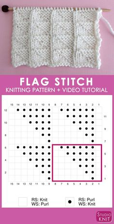 Really helpful chart to easily knit the Flag Stitch Pattern by Studio Knit. Get free pattern and video tutorial, too! Sie Grafikmuster Learn How to Knit the FLAG Stitch with Free Pattern + Video Knitting Stiches, Knitting Videos, Knitting Charts, Easy Knitting, Knitting For Beginners, Loom Knitting, Knitting Patterns Free, Knit Patterns, Knitting Projects