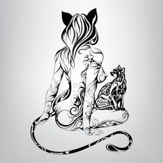 Vector silhouette of girl cat with a black cat in the ornament - stock vector - Ornamental Pixie Tattoo, Dog Tattoos, Cat Tattoo, Girl Tattoos, Tattoo Girls, Girl And Cat, Illustrations, Illustration Art, Arte Cholo