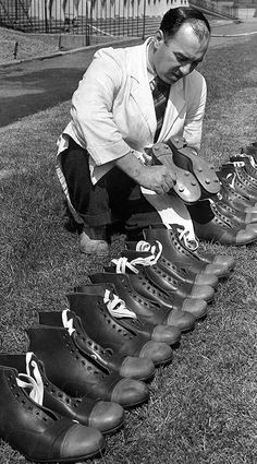 Newcastle United's assistant trainer Alec Mutch inspects the condition of the football boots belonging to the first team squad. Soccer Gear, Soccer Boots, Football Shoes, Celtic Team, Black And White Football, Goalkeeper Training, Football Casuals, School Football, Vintage Football