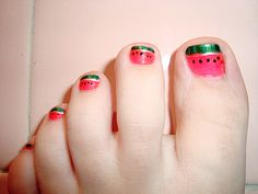 Watermelon Toes  - Color Club Youthquake  - Orly Platinum (White french)  - Finger Paints Sketch n Etch (Green french)  - Claire's mood color changing polish, I think it's Peaceful/Confident for rind stripes.  - Orly Goth  - BC + TC