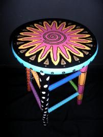 Painted Stool #4 Dodie Ortland