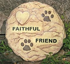 """Pet Memorial Garden Stepping Stone with a Paw Print and Heart Design -- Carved Message Reads """"Faithful Friend"""" -- the Heart Can Be Personalized with a Permanent Maker (Marker Not Included) -- 11 1/2"""" Diameter Round Rock Perfect Size to Place in a Garden -- Use for a Pet Grave Marker -- Hardware on Back of Stone to Hang on a Wall Banberry Designs http://www.amazon.com/dp/B003G47G18/ref=cm_sw_r_pi_dp_iCE.tb176AF1P"""
