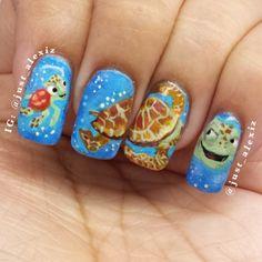 Crush and squirt nails. Turtle Nail Art, Turtle Nails, Fabulous Nails, Gorgeous Nails, Beauty Hacks Nails, Beauty Tips, Duck Nails, Cruise Nails, Animal Nail Art