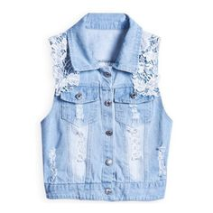 Blue Lapel Sleeveless Lace Ripped Denim Outerwear (73 BRL) ❤ liked on Polyvore featuring outerwear, vests, jackets, sheinside, tops, blue waistcoat, sleeveless denim vest, blue denim vest, denim lace vest and denim vest