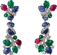 Cartier Étourdissant High Jewelry Earrings. Platinum, emeralds, sapphires, rubies, diamonds.