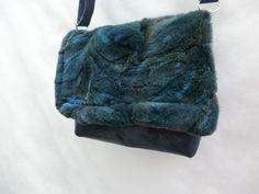 """Kuhie®, Pelz Tasche """"Minnie"""" Leder dunkelblau von KUHIE ®:  Die Taschen mit Kuh !!! auf DaWanda.com"""