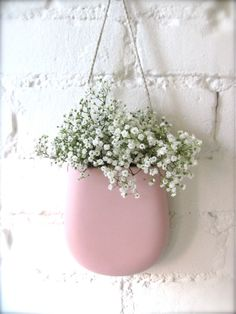 Pink Pink Pink  Porcelain Hanging Wall Pocket by Hideminy on Etsy, $50.00