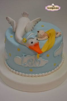 Baby Shower Cake Baby shower cake, christening stork cake – Cake by With a touch of sugar – Ge … Fondant Baby, Fondant Cakes, Cupcake Cakes, Baby Birthday Cakes, Baby Boy Cakes, Torta Baby Shower, Baby Boy Shower, Stork Cake, Bolo Fack