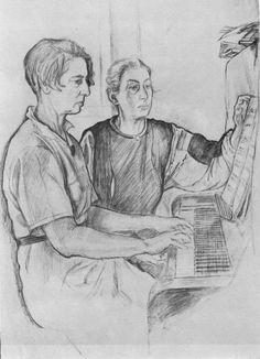 Maria Favorskaya and Yelena Derviz. 1945. Pencil