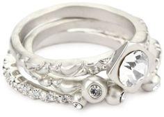 "Andrew Hamilton Crawford ""Elegant"" Silver 3-Piece Ring Set"