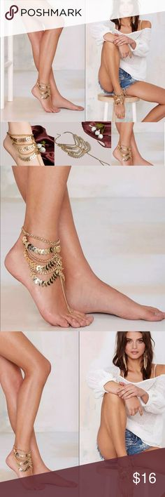 Bohemian Gold Leaf Barefoot Sandal Set Of Two Bohemian Gold Leaf Barefoot Sandal Set of Two Jewelry
