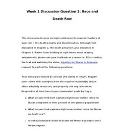 This discussion focuses on topics addressed in several chapters of your text – the death penalty and discrimination. Although first discussed in Chapter 2, the death penalty is also discussed in Chapter 4. Rather than thinking…  (More)