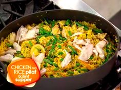 11.Chicken and rice pilaf skillet supperThisMoroccan-inspired skillet dinneris both delicious and nutritious. Homemade rice pilaf is fleshed out with Meyer lemon, raisins and saffron-infused chicken stock. The pilaf is then topped with poached chicken, toasted almonds, and blanched peas and green beans.                                     via @AOL_Lifestyle Read more: http://www.aol.com/article/2015/08/13/11-easy-weeknight-skillet-dishes-that-will-save-your-life/212223...