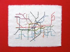 London Tube map, embroidered