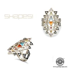 Shapes! #NoorFares #18K #GreyGold #Geometric #Ring #Gemstones #Diamonds #Jewelry #Jewellery