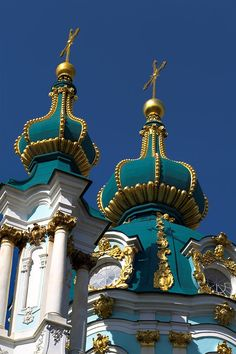 Andreevskaya Church, Kiev, Ukraine. 1744-67. Built at the request of the Empress Elisabeth. Francesco Bartholomeo Rastrelli, Ivan Fyodorovich Michurin, architects.