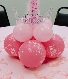 Princess Party Center Piece | DIY craft & decoration. Girly birthday party crown or tiara & balloon arrangement.  Fun & easy party theme for kids.