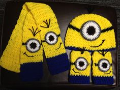 Crochet minion scarf, hat, and fingerless mittens!