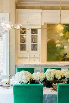 Art work, gold chandelier, green side chairs, dining room http://utahdesignworks.blogspot.com