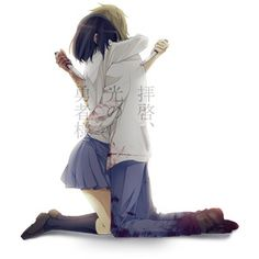 Safebooru - Anime picture search engine! - black hair blonde hair blood couple gime hug kneeling knife school uniform short hair   483481