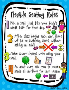 This product will help you to introduce the rules and expectations of flexible / alternative seating in your classroom. A poster with all four rules is included, as well as separate posters for each individual rule. Visuals will help even the youngest students learn and remember the appropriate way to use flexible seating in a classroom.