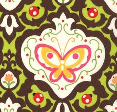 Oops A Daisy Fabric Kaleidoscope Brown Butterfly 8417