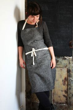 100 linen handmade full apron colour black by STONEetsy on Etsy