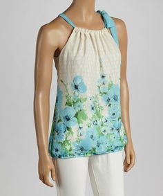 Look what I found on #zulily! Aqua & Mint Floral Tie-Yoke Top by Wrapper #zulilyfinds