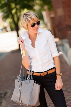 blouse (J.Crew) jeans (AG Jeans) loafers (C.Wonder) belt (C. Short Hair Cuts For Round Faces, Round Face Haircuts, Ag Jeans, Look Fashion, Autumn Fashion, Womens Fashion, Fashion Tips, Mode Ab 50, Casual Wear