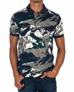 Polo LACOSTE ® Camuflaje Blue   ENVIO GRATIS Polos Lacoste, Polo Shirt, Men's Polo, T Shirt, Moda Casual, Long Sleeve Tee Shirts, Sport Wear, Printed Shirts, Shirt Designs