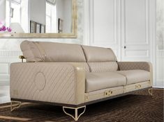 Upholstered 3 seater leather sofa MONTGOMERY | Sofa by Formitalia