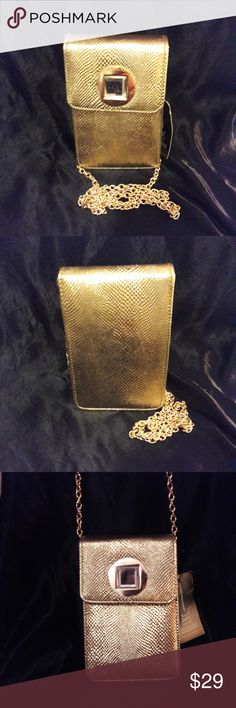 "INC International Concepts Gold Crossbody INC International Concepts Gold Faux Leather Crossbody Purse   Gold Chain Strap  Flap turn closure  Measures 7"" tall by 5"" wide INC International Concepts Bags Crossbody Bags"