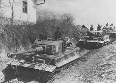 German Panzer column comprising Tiger tanks of 506.Heavy Tank Battalion join the retreat of the German army in western Ukraine on May 4, 1944