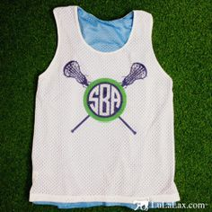 Sport our Girls Lacrosse Racerback Monogram Pinnie on and off the field! #LuLaLax #lacrosse #laxgirl