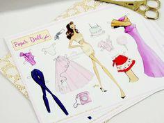 Retro inspired Paper Doll, 1950s paperdoll, Paperdoll art print, Paperdoll, Fashion sketch paperdoll by Josefina Fernandez by JosefinaFernandez on Etsy