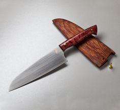Maple & S60V Santoku custom chef knife by Michael Zieba. Made in Brooklyn.