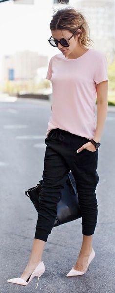 Kurt Geiger Light Pink Metallic Cigarette Heel Pointy Toe D'orsay Pumps | A Basic Tee 4 Ways from Flats to Heels | Hello Fashion