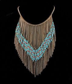 NAVAJO STYLE TURQUOISE SEAD BEAD GOLD FRINGE CHAIN BIB COLLAR STATEMENT NECKLACE