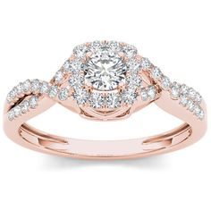 De Couer 10k Rose Gold 1/2ct TDW Diamond Twist Shank ($496) ❤ liked on Polyvore featuring jewelry, rings, h, jewelry & watches, rose gold jewelry, unisex rings, twisted diamond ring, red gold ring and engagement rings