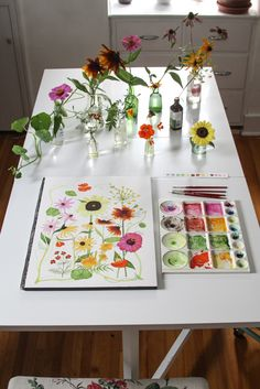 In My Studio Painting Summer Garden Flowers in Watercolor by Anne Butera of My Giant Strawberry