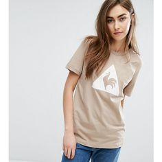 Le Coq Sportif Exclusive To ASOS Flocked Logo T-Shirt In Camel (24 AUD) ❤ liked on Polyvore featuring tops, t-shirts, cream, vintage style t shirts, tall tees, tall t shirts, retro t shirts and animal print tee