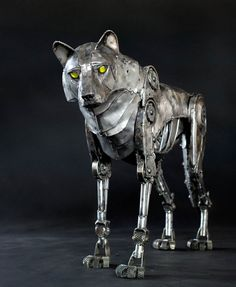 """""""Mechanical Wolf"""" the latest sculpture by Andrew Chase."""
