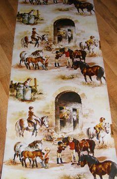 Vintage kids horse pony wallpaper 1 meter juvenile by mumxie, £5.00