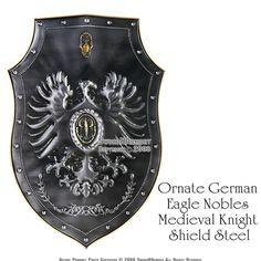 Ornate German Eagle Nobles Medieval Knight Shield Steel $60