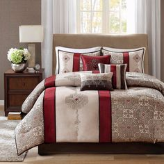 Perry 7 Piece Comforter Set - Red (King)